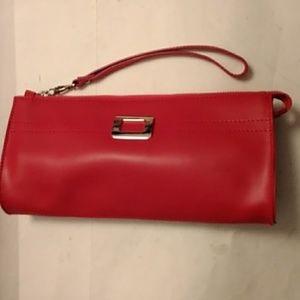 Nicoli genuine leather wristlet clutch red